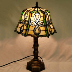 """Stained Glass Celtic Top Pleated Lamp 20"""""""