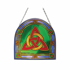 Stained Glass Shamrock Celtic Braided Window 15.5""