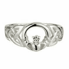 Sterling Silver Celtic Detail Claddagh Ring