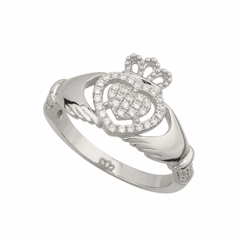 Sterling Silver Claddagh Ring with CZ Detail