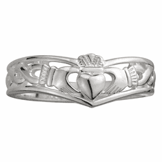 Sterling Silver Ladies Wishbone Claddagh Ring