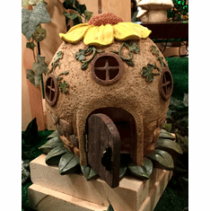 Sunflower and Shamrock Garden Fairy House