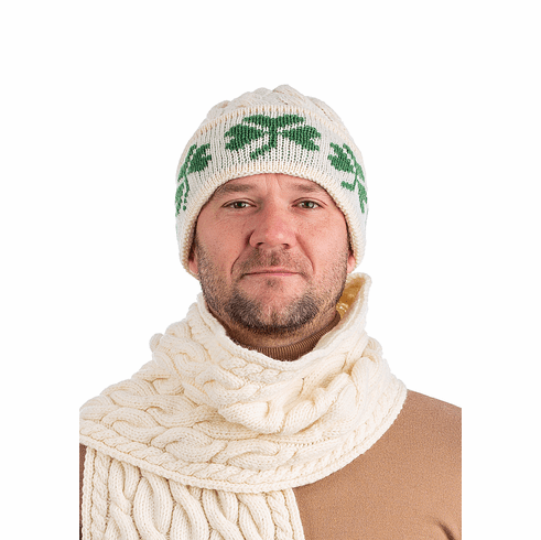 Super Soft Merino Wool Aran Hat for Men with Shamrock Details