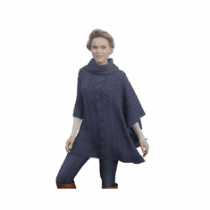 Super Soft Merino Wool Poncho with Cowl Neck