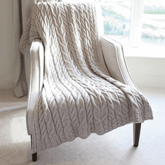 SuperSoft Wool Cable Knit Blanket