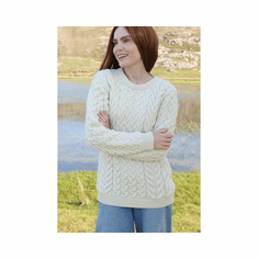 Supersoft Wool Cable & Weave Aran Knit  Ladies Sweater