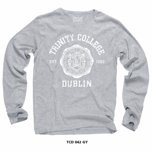 Trinity College Seal Long Sleeve Grey T-Shirt.  Official Merchandise.