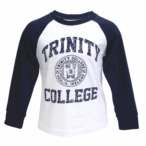 White & Navy Trinity College Crest Kids Long Sleeve Top