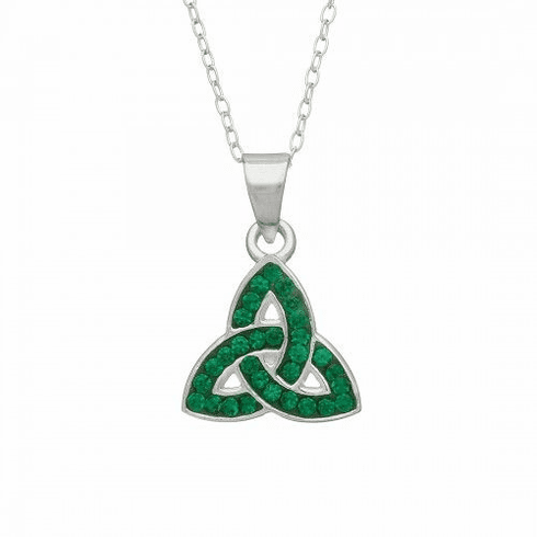Trinity Pendant with Green CZ Stones