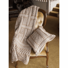 Two Tone Aran Knit Blanket Beige