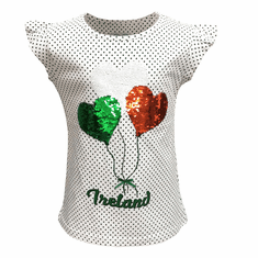 White/Emerald Spot Ireland Sequin Balloon Kids T-Shirt