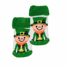 White/Green Leprechaun Baby Socks
