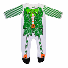 White/Green Sketch Leprechaun Baby Romper