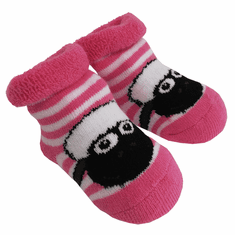 White Pink Shamrock Sheep Baby Socks
