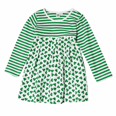 White Shamrock Striped Girls Dress