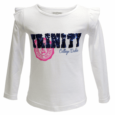 White Trinity Sequin Kids Long Sleeve Top