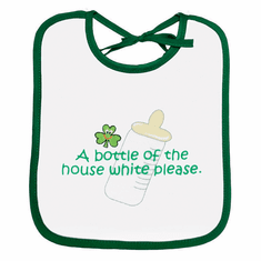 White with Green Bottle Kids Bib
