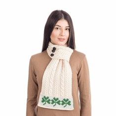 Women Aran Loop Knit Scarf with Traditional Shamrock Design