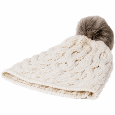 Natural White Wool Knit Pom Pom Hat