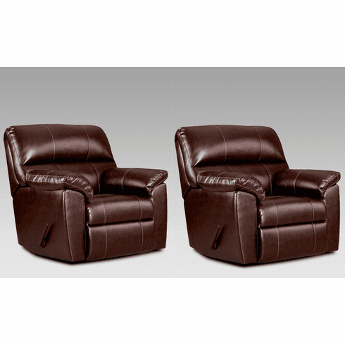 2 Austin Chocolate Recliners<br>Affordable Furniture