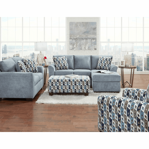 Affordable Anna Blue Grey<br>Chaise Sofa