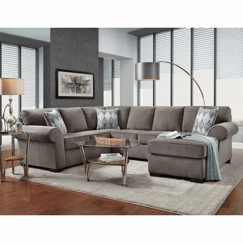 Affordable Charisma Smoke<br>Chaise Sectional