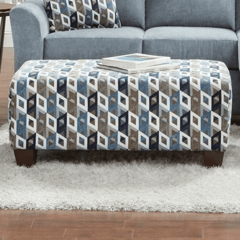 Affordable Cube Blue Grey Br Accent Ottoman