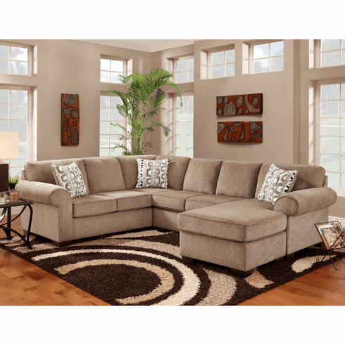 Affordable Jesse Cocoa<br>Chaise Sectional