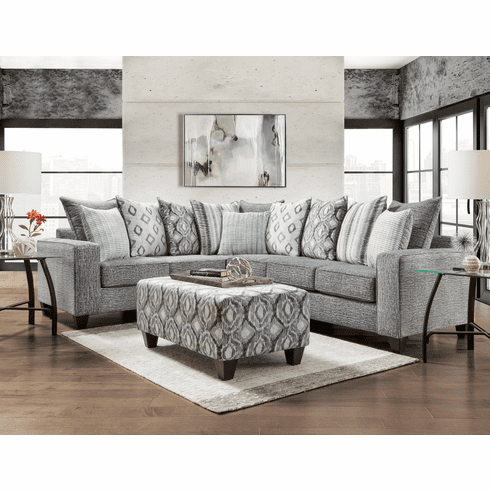 Affordable Stonewash Charcoal<br>2 Piece Sectional