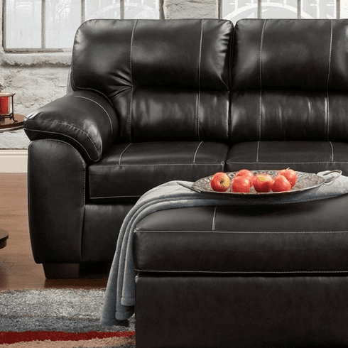Austin Black Loveseat<br>Affordable Furniture