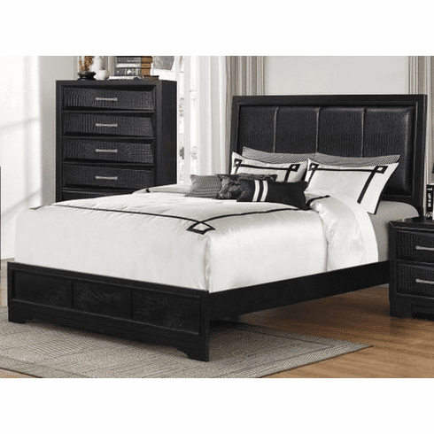 Black Finish Queen Bed with Rails by Lifestyle
