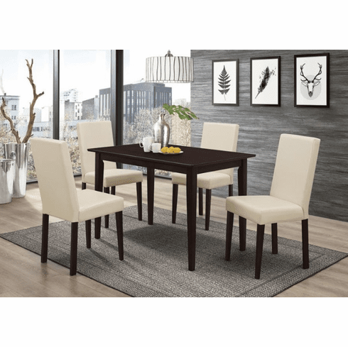 Coaster Black & Cream 5 Piece Dining Set
