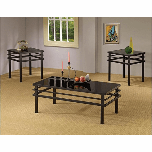 Coaster Black Glass<br>3 Table Set