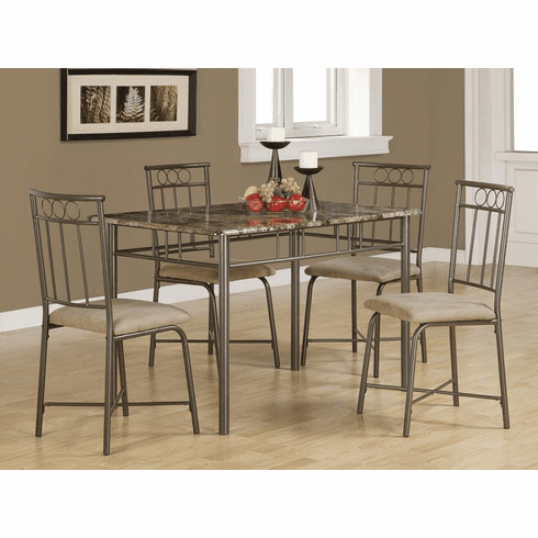 Coaster Faux Marble 5 Piece Dining Set