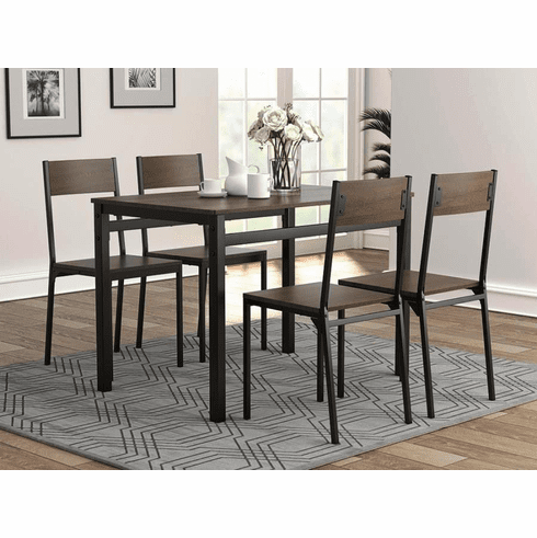 Coaster Metal Ark Brown 5 Piece Dining Set