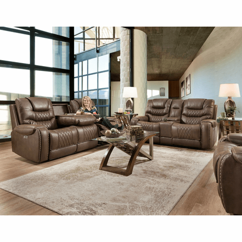 Corinthian Desert Chocolate Reclining Sofa