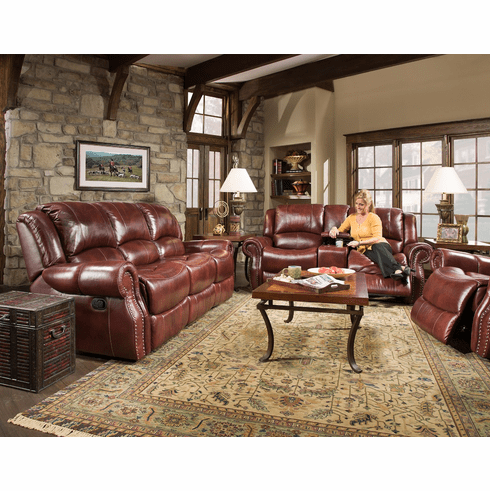 Corinthian Oxblood Leather<br>Reclining Sofa