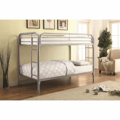 Coaster Silver Twin/Twin<br>Bunk Bed Frame