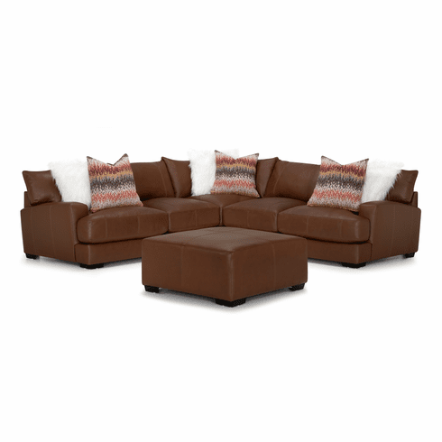 Franklin Valentia Chocolate<br>Leather Sectional