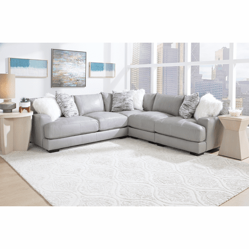 Franklin Antonia Grey<br>Leather Sectional