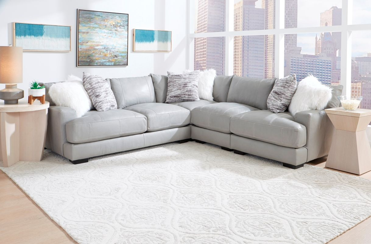 Franklin Antonia Grey Br Leather Sectional