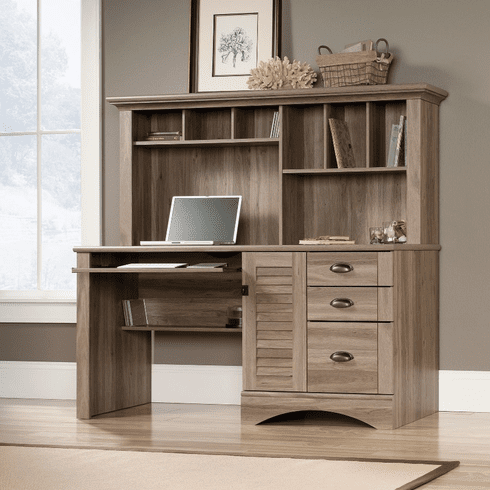 Harbor View Salt Oak Computer Desk w/ Hutch by Sauder