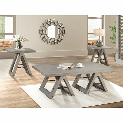 Lane Sawhorse Grey 3 Piece<br>Table Set