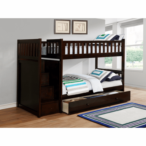 Lifestyle Espresso<br>Staircase Bunk Bed Frame