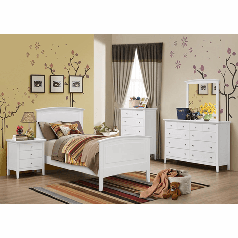Lifestyle Furniture 7 Piece<br>White Twin Bedroom