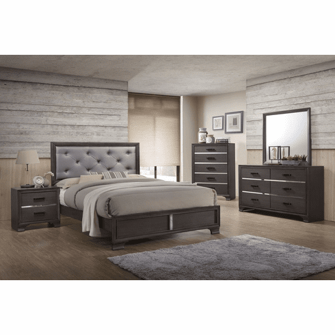 Lifestyle Grey Upholstered<br>Full Size Bed