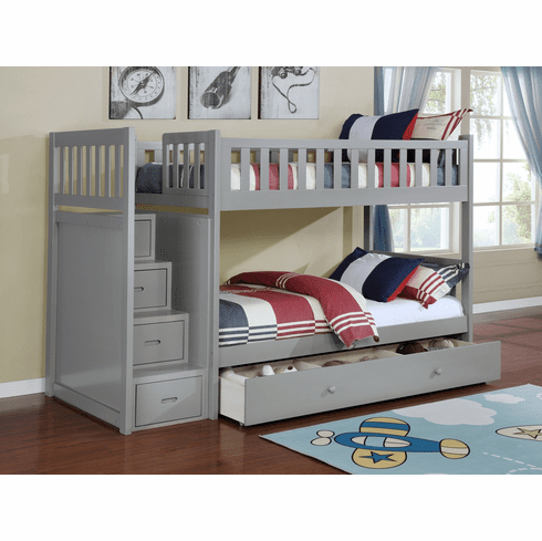 Lifestyle Grey<br>Staircase Bunk Bed Frame