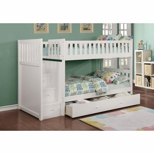 Lifestyle White<br>Staircase Bunk Bed Frame