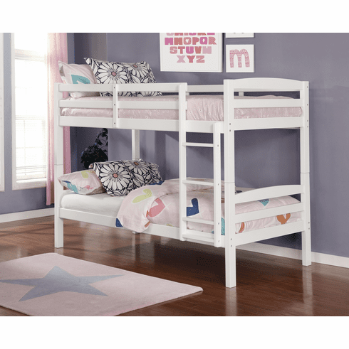 Lifestyle White<br>Twin Twin Bunk Bed Frame