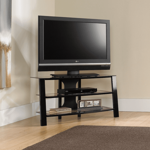 Mirage Black/Clear Glass Panel TV Stand